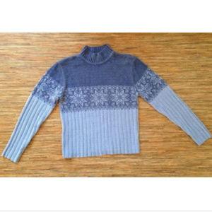 Sonoma Sweater Blue Fleece Snowflake Nordic NWOT